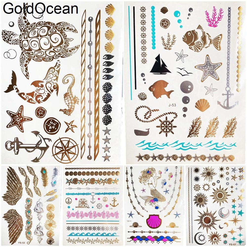 Временная татуировка в виде морских черепах, морских звезд, золотого и металлического цвета, для девушек, ручная переводная татуировка, для ...