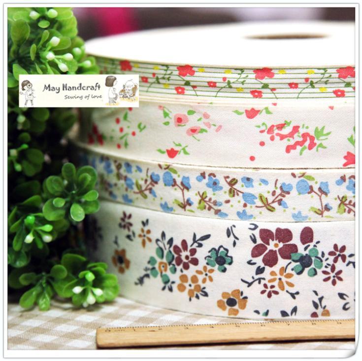 "1,5-4 cm de ancho ""Floral"" ZAKKA algodón correas/cintas, ZAKKA coser etiquetas, etiquetas de costura, accesorios de bricolaje, 4 diseños, 12 metros/lote"