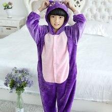 Nouveau pyjamas animaux pour enfants hiver chaud fille garçon enfants pyjama dessin animé violet chat Cosplay Onesie à capuche mignon vêtements de nuit