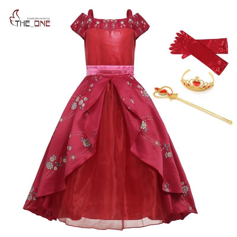 Muababy meninas grandes elena de avalor fantasia vestidos crianças fora do ombro princesa elena vestidos menina simplificada festa de flores traje
