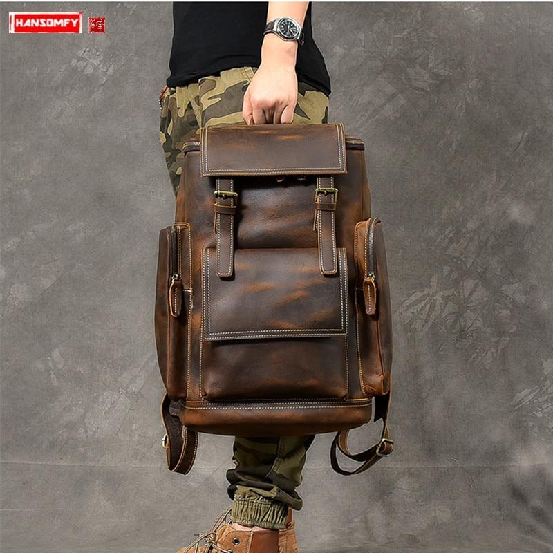 حقيبة ظهر جلدية ريترو كريزي هورس للرجال ، حقيبة كمبيوتر بسعة كبيرة 15.6 بوصة ، حقيبة كمبيوتر محمول ، حقيبة سفر من الجلد الطبيعي