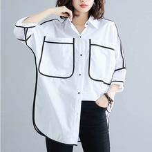 Artı Boyutu Yaz Gömlek Bluz Kadınlar Kore Vintage Gevşek Beyaz Gömlek Bayanlar Büyük Boy Bayan Üstleri Ve Bluzlar 4XL 5XL 6XL 2019