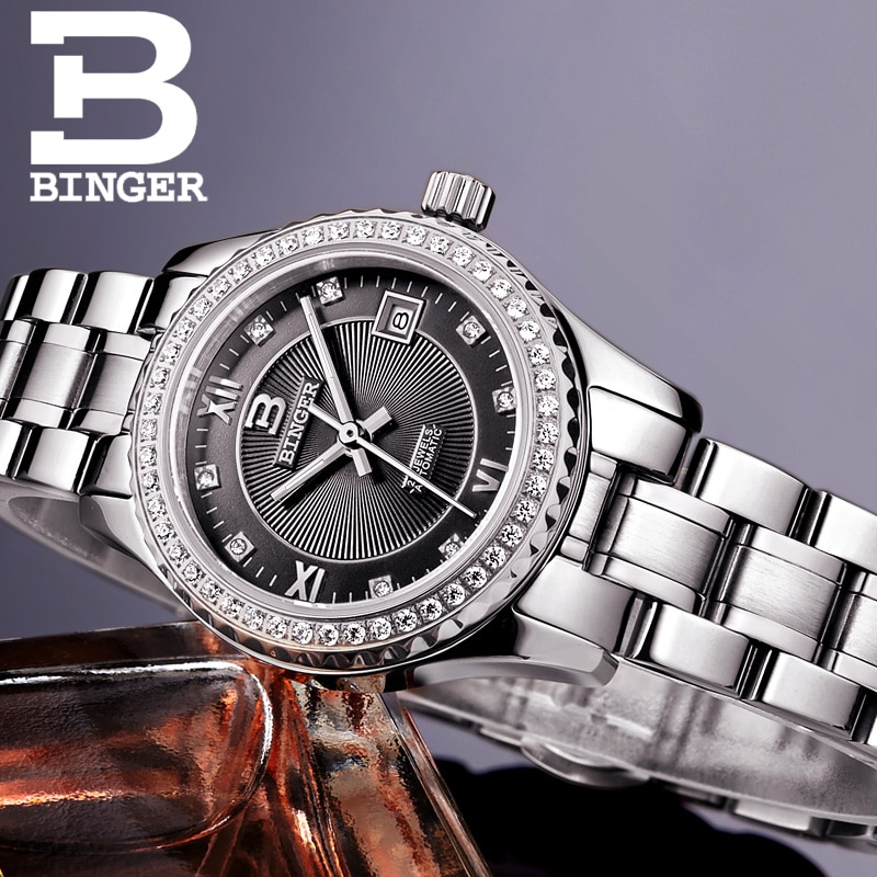 Switzerland Women' swatches luxury brand  BINGER luminous Mechanical Wristwatches leather strap Waterproof clock B1112-6 enlarge