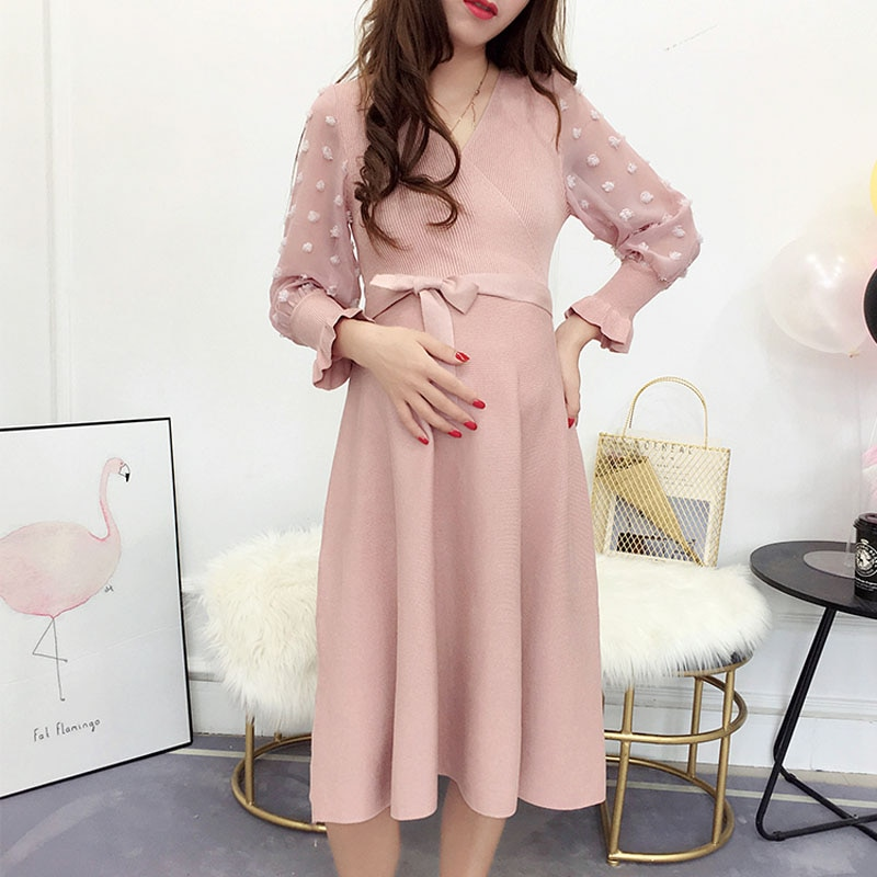 9 10 length sleeve cute doll collar plaid maternity dresses 2019 autumn fashion large size loose dress for pregnant women ql8857 Knitted Maternity Dresses Pregnancy Clothes For Pregnant Women Dress Vestido Embarazada Maternity Dresses Autumn Spring