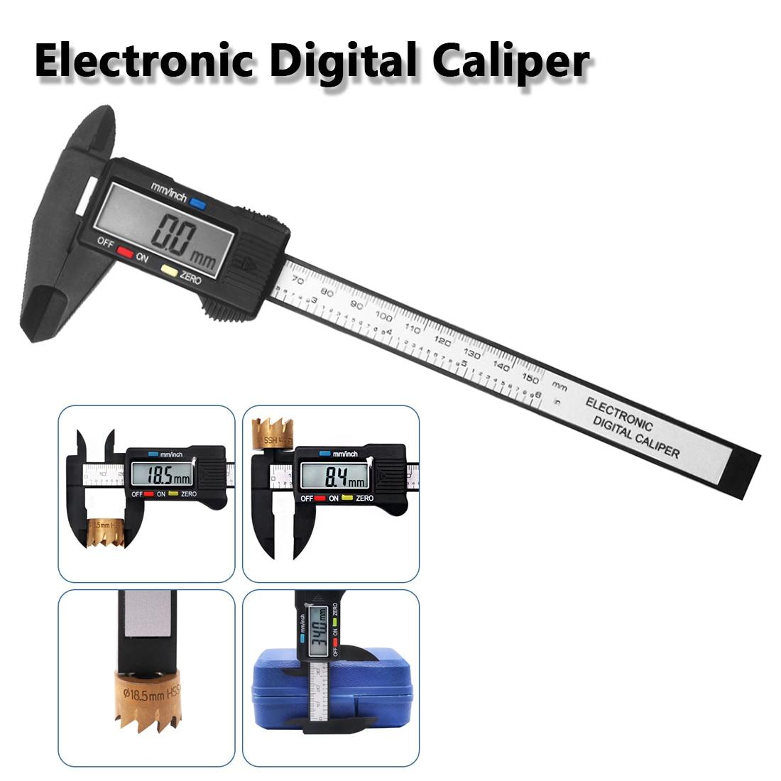 Regla micrométrica 150mm 6 pulgadas LCD Digital electrónica de fibra de carbono calibrador Vernier medidor compuesto Tester