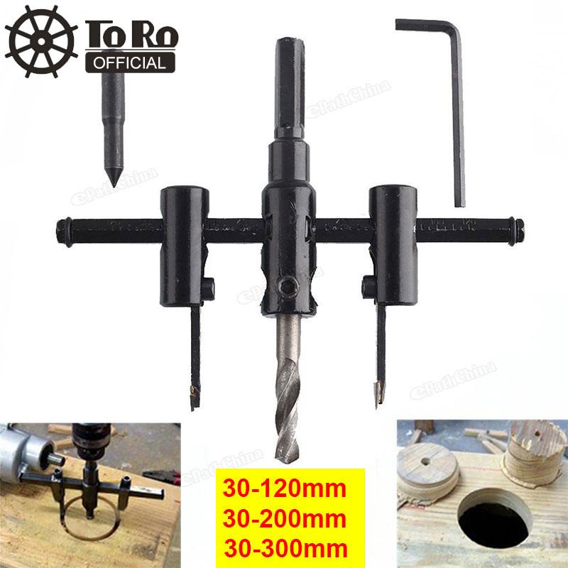 TORO 30 мм-120/200/300 мм набор регулируемых кольцевых резцов из легированной стали с деревянным пластиковым отверстием для сверла инструменты для деревообработки