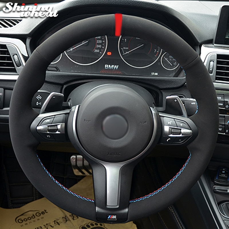 أسود الجلد المدبوغ عجلة توجيه سيارة غطاء ل BMW F30 F33 F87 M2 F80 M3 F82 M4 M5 F12 F13 M6 F85 X5 M F86 X6 M الرياضة