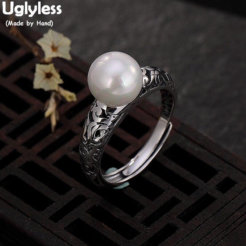 Uglyless 100% Real sólido Plata de Ley 925 étnico Vines anillos de dedo huecos para mujeres perlas naturales anillo abierto joyería fina