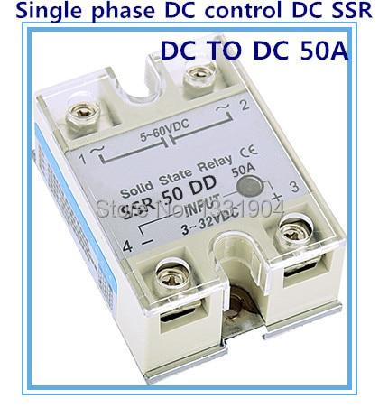 Relé de estado sólido monofásico envío gratis control DC SSR-50DD 50A SSR Entrada de relé 5-60 V salida CC 3-32 V CC