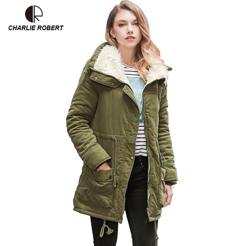 CR New Women Winter Coat Thick Warm Short Plush Fur Collar Women Jacket Coat Fashion Causal Autumn Cotton Jackets Female Parka