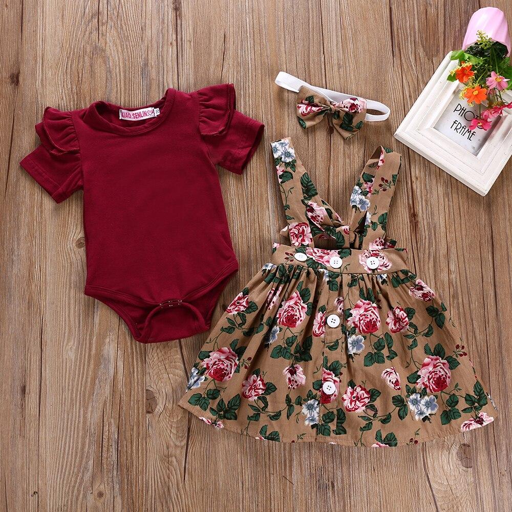 יילוד תינוקת בגדי סט קיץ נסיכת מסיבת תלבושות Romper רצועת שמלת סרטי ראש 3Pcs פעוט תינוקות תינוק בגדי בנות