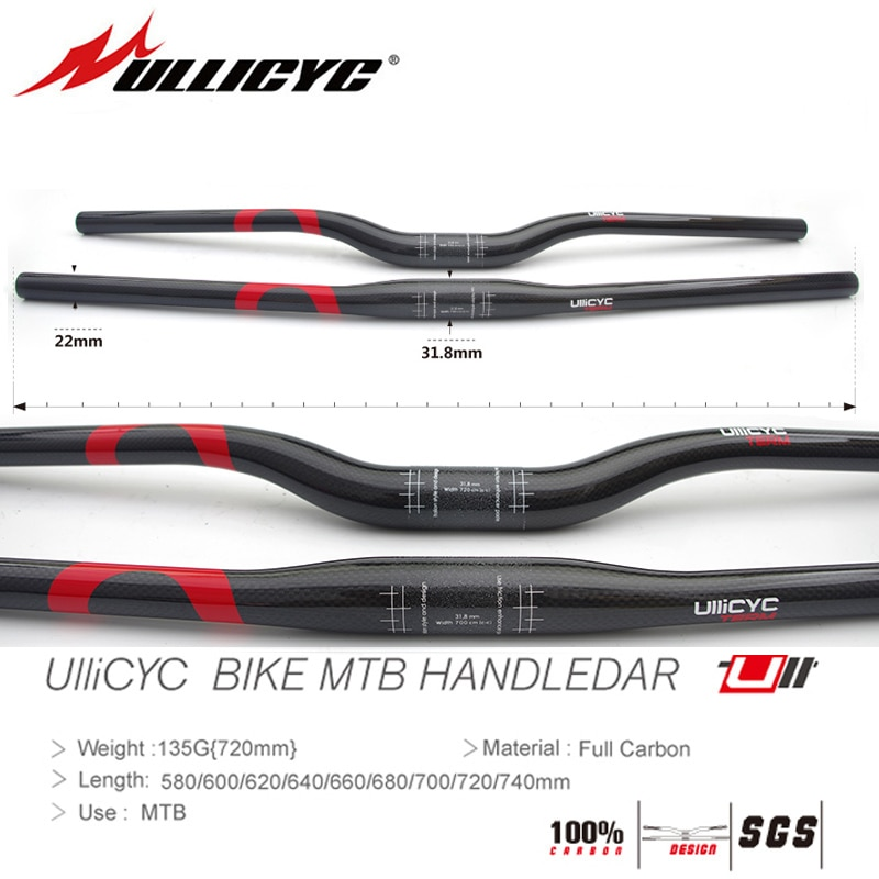 Tipo C (rojo) gran oferta de bicicleta de montaña completa manillar MTB de carbón plano o aumento 31,8*580/600/620/640/660/680/700/720/740mm envío gratis