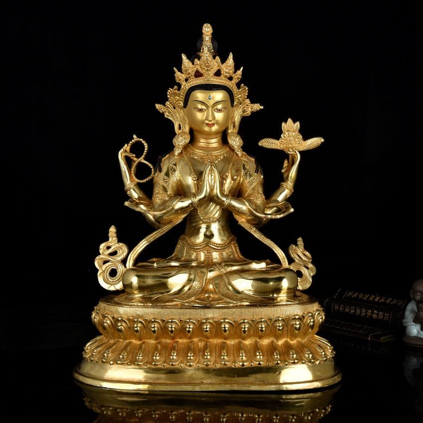 unique  48 cm large # HOME hall Talisman efficacious Protection Tibetan Buddhism gold-plated gilt Kwan-yin buddha figure statue