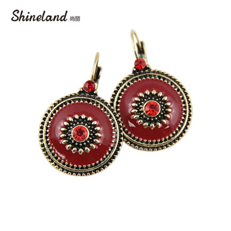¡Novedad del 2020! Accesorios recién llegados para mujer de Shineland, pendientes de Clip llamativos esmaltados Multicolor con diamantes de imitación de cristal Vintage
