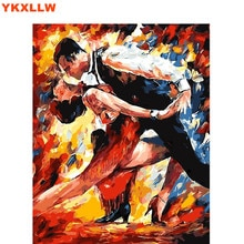Pintura por números para colorear de socio de baile latino, pintura en lienzo de caligrafía, dibujos para sala de estar por números