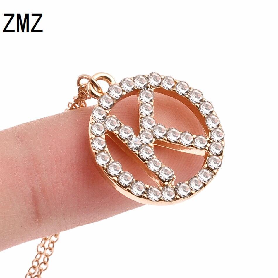 ZMZ 2018, collar con colgante circular de letra K a la moda de Europa/EE. UU. Con piedra brillante, bijou, Regalo para mamá/novia, joyería para fiesta