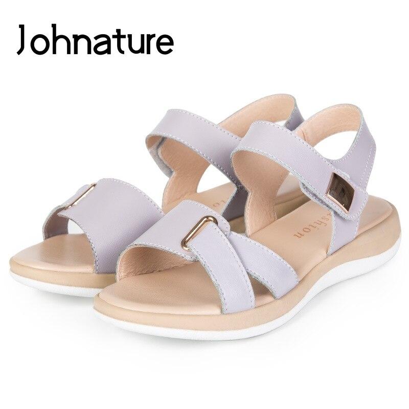 Johnature 2020 חדש קיץ מקרית בלינג חלול לנשימה אמיתי עור נשים פלטפורמת סנדלי טריזי נעליים יומיומיות Med עקבים