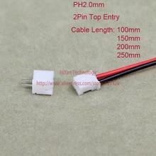 50 takım Mini Mikro PH2.0 JST 2.0mm Pitch 2Pin Konnektörü ile 1007 26AWG 100mm 150mm 200mm 250mm Elektronik Tel Kablo Pin header