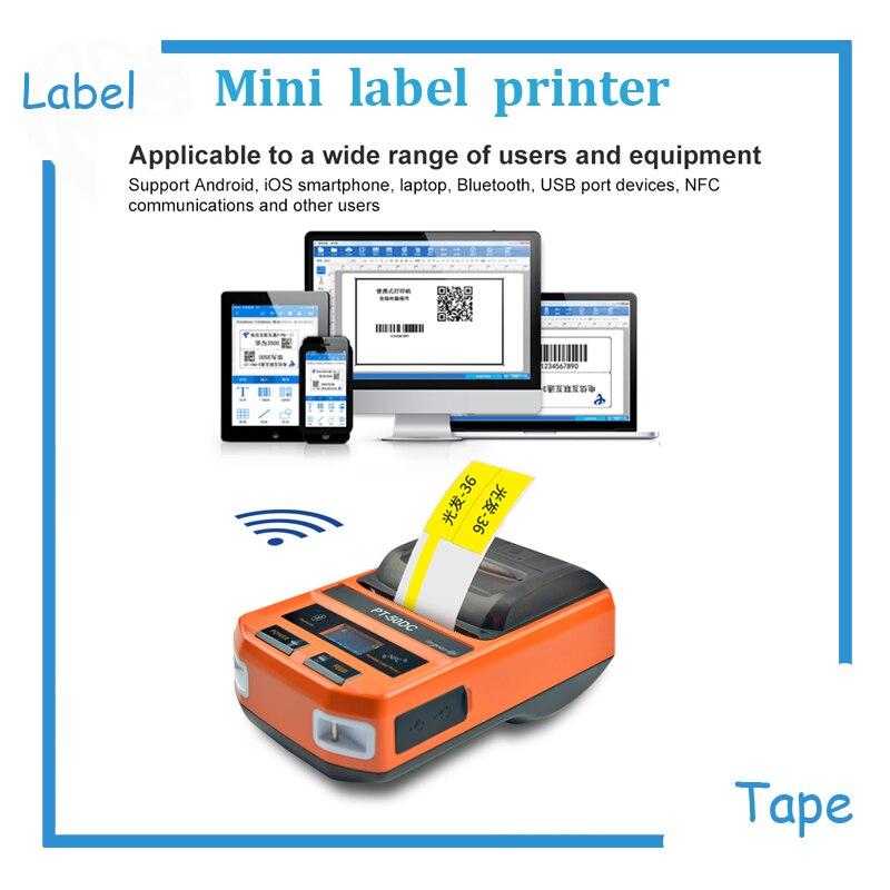 Impresora de etiquetas de Cable de PT-50DC teléfono WIFI conexión inalámbrica remota impresoras térmicas para f-type, t-type, marca de Cable plana
