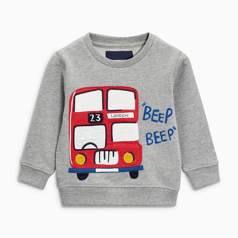 ¡Novedad! Sudadera con capucha de manga larga y cuello redondo de algodón con aplique gris para autobús para Niños de Little Maven
