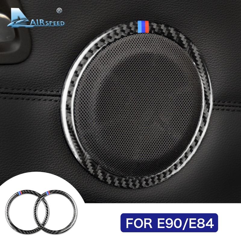 מהירות טיסה סיבי פחמן דלת אודיו רמקול מכסה לקצץ דקורטיבי רמקול מעגל טבעות עבור BMW E90 3 סדרת E84 X1 אבזרים