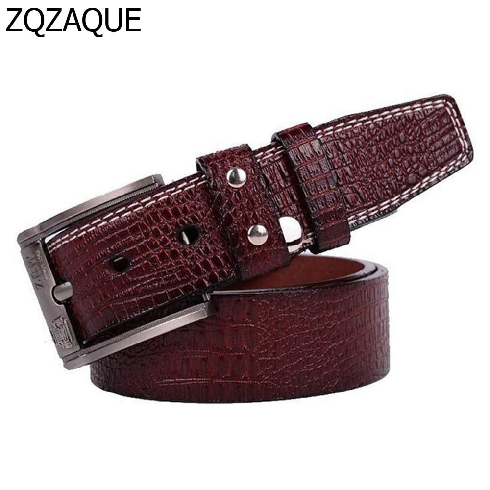 Destockage!! 2019 vente Unique!! Mode hommes ceintures en cuir microfibre Crocodile motif mâle classique boucle ardillon sangles SY067