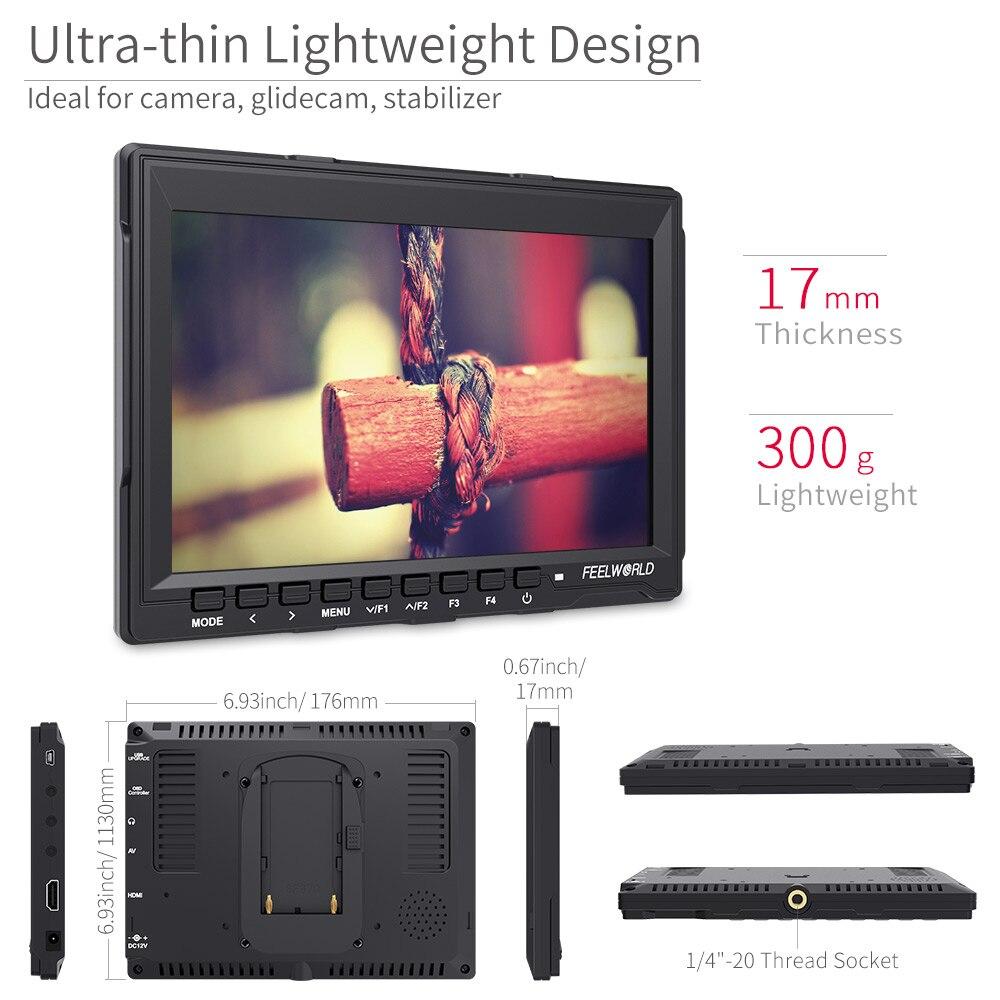"""Monitor de campo Feelworld FW759 7 pulgadas IPS 1280x800 HDMI con enfoque máximo 7 """"Monitor LCD para estudio de foto de cámara DSLR"""