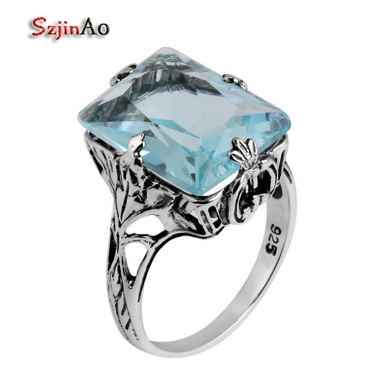 Anillo de Aguamarina Szjinao estilo Victoria restaurando formas antiguas de joyería de moda 925 anillos de plata esterlina para mujeres