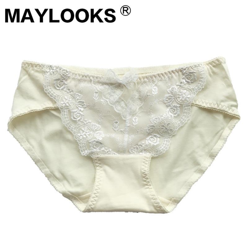 Maylooks de algodón puro sin costuras bragas de color sólido mujer ropa interior P33