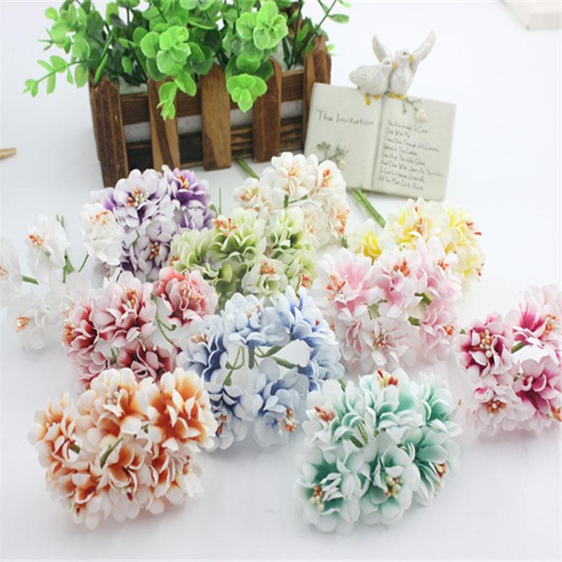 6 unids/lote Mini ramo de flores de Rosa artificiales de seda Multicolor álbum de recortes flores hojas de estambre caja de boda decoración estambre