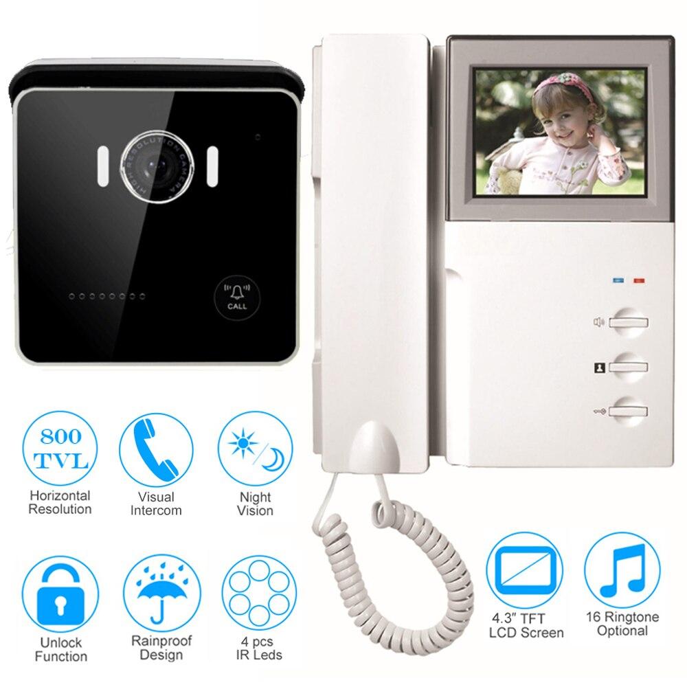 "CUSAM Wired 4.3"" Video Door Phone Doorbell Two-way Audio Intercom Handset 800TVL Camera IR Night Vision Unlock Home Security"