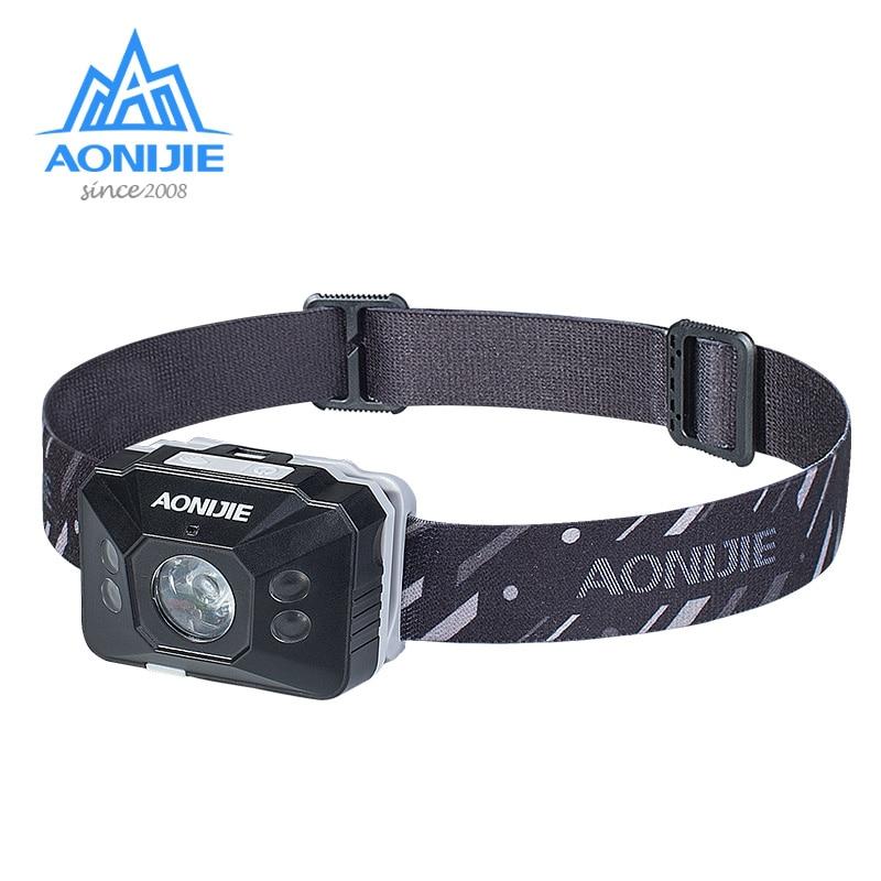 Linterna frontal AONJIE E4097, impermeable, recargable, sensible, LED, linterna, luz para correr, pesca, Camping, senderismo y ciclismo