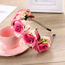 Style bohémien fleur de Rose pour femmes   Bandeau de fête de mariage, couvre-chef pour dames, accessoires pour cheveux, coiffure de plage pour mariée