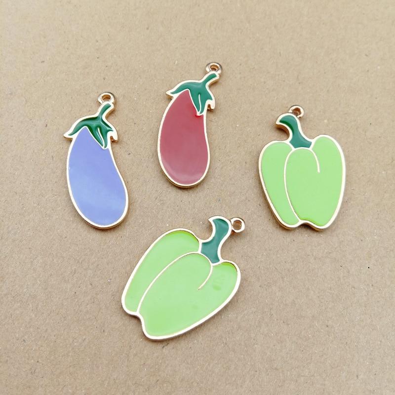 10 pièces alimentaire aubergine Chili émail breloques goutte huile végétale alliage pendentifs flottants Bracelets bijoux à bricoler soi-même accessoires YZ486