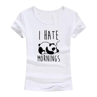 i hate mornings cartoon panda print cotton t shirt women korean style female tee shirt funny tops tshirt lady girls