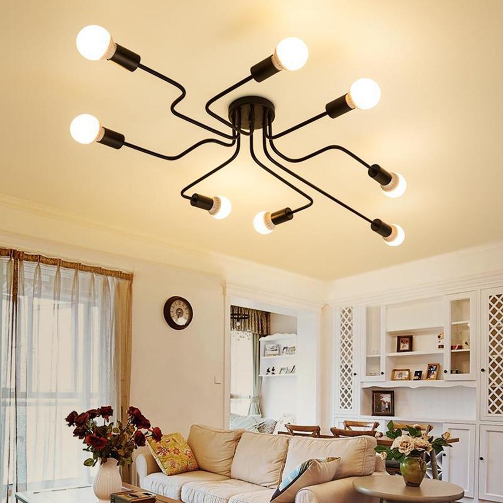 220V Modern LED Ceiling Light Black Iron 4/6/8 Head Branch Industrial Light Living Room Bedroom Lighting Fixtures