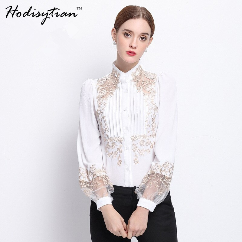 Hodisytian Noble Women Blouse Shirts Elegant Slim Fit Pleated Blouse Casual Floral Embroidered Long Sleeve Blusas Camisa Femme floral embroidered high low blouse