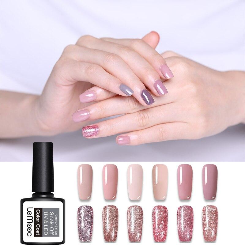 Lemooc 12ml Rose Gold Nail Glitter Polish Shining Colors Soak Off UV & LED Gel Varnish Long Lasting Nail Art Gel Polish