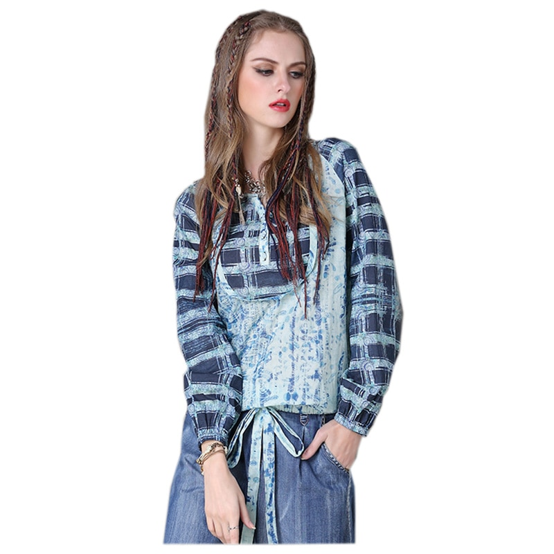 2017 Camiseta de manga larga de algodón de lino suelta moda cuello pico pulóver verano Patchwork Camisas Casual Top para mujer A50-B9109