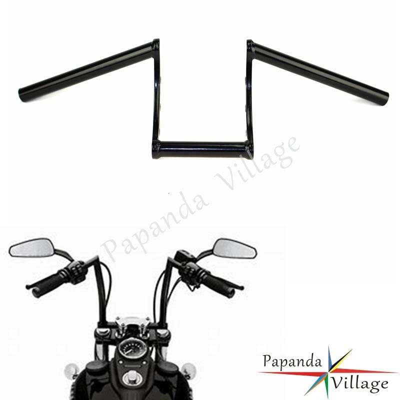 "Papanda Motorcycle Black Drag 1"" Z Bar Motorbike Handlebar Custom for Harley Sportster XL883 XL1200 Dyna Bobber"
