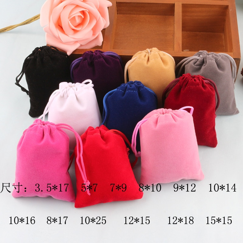 Бархатный Подарочный мешочек с кулиской 7x9 см 8x10 см 9x12 см 10x15 см 15x20 см Упаковка 50 мешок для свадебной вечеринки