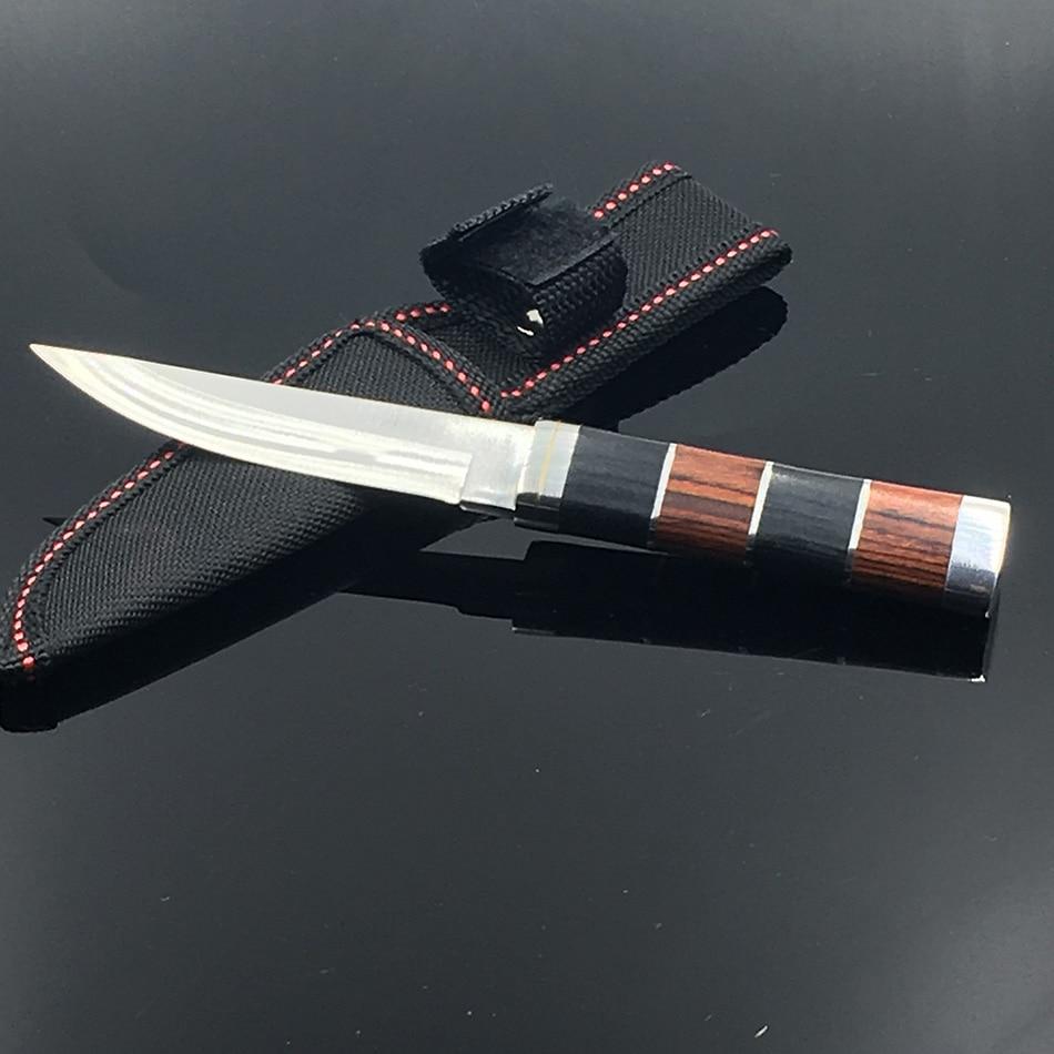 Cuchillo de acampada portátil con mango de madera de alta calidad afilados cuchillos de caza de supervivencia cuchillo recto con vaina