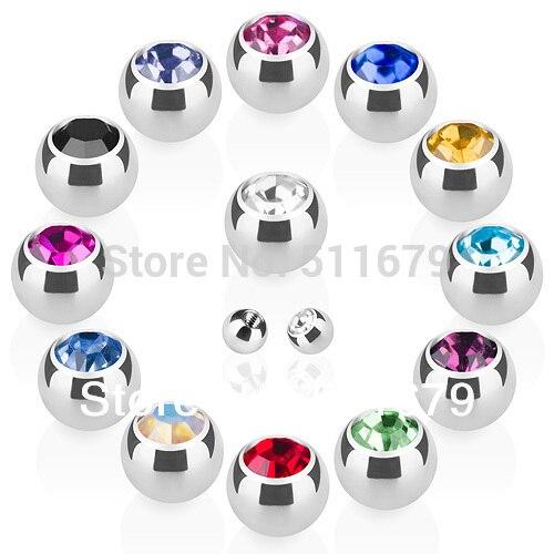 Хирургический стальной пресс 316L, подходит для 16 г * 3 мм, драгоценный камень, шар для бровей, кольцо для носа, Лабрет, для губ, пирсинга, запасны...