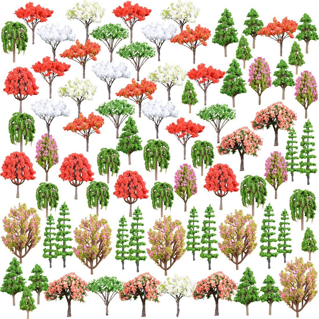 80 Uds 4,2-9,7 cm (1,65-3,8 pulgadas) escala HO 1 85 manzana árbol modelo arquitectura del ferrocarril Diorama árbol para paisaje DIY