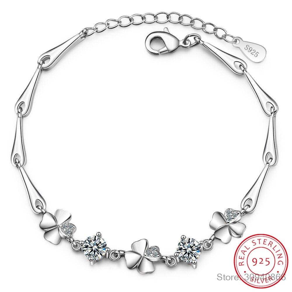 Pulsera de plata de ley 925 para mujer, bonita y dulce estudiante, pulseras de trébol de cuatro hojas para mujer, regalo para el Día de San Valentín para novia