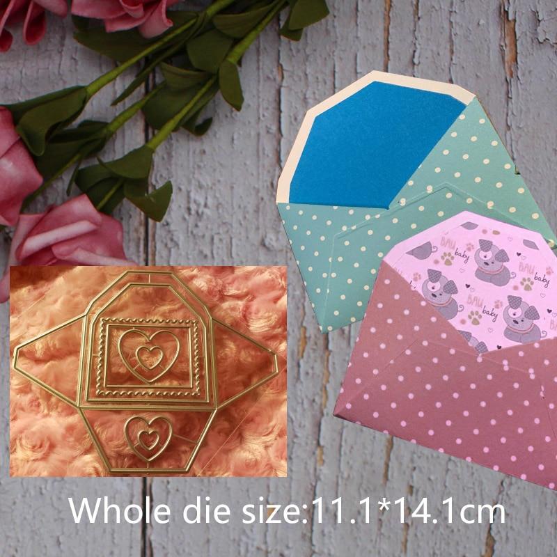 Metal steel frames Cutting Dies Rectangle Heart envelope  DIY Scrap booking Photo Album Embossing paper Cards11.1*14.1cm