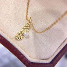 Pendiente de hoja de plata esterlina S925, collar de perlas naturales de agua dulce de 5mm, cadena colgante para mujer, joyería de perlas, regalos para fiesta