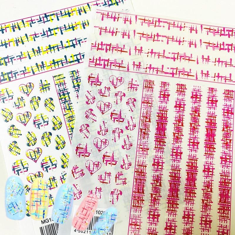 Nuevo MG181025-01-02 Net red lana roja adhesivos para manicura 3D Etiqueta de uñas estampado exportación Japón diseños decoraciones de pedrería