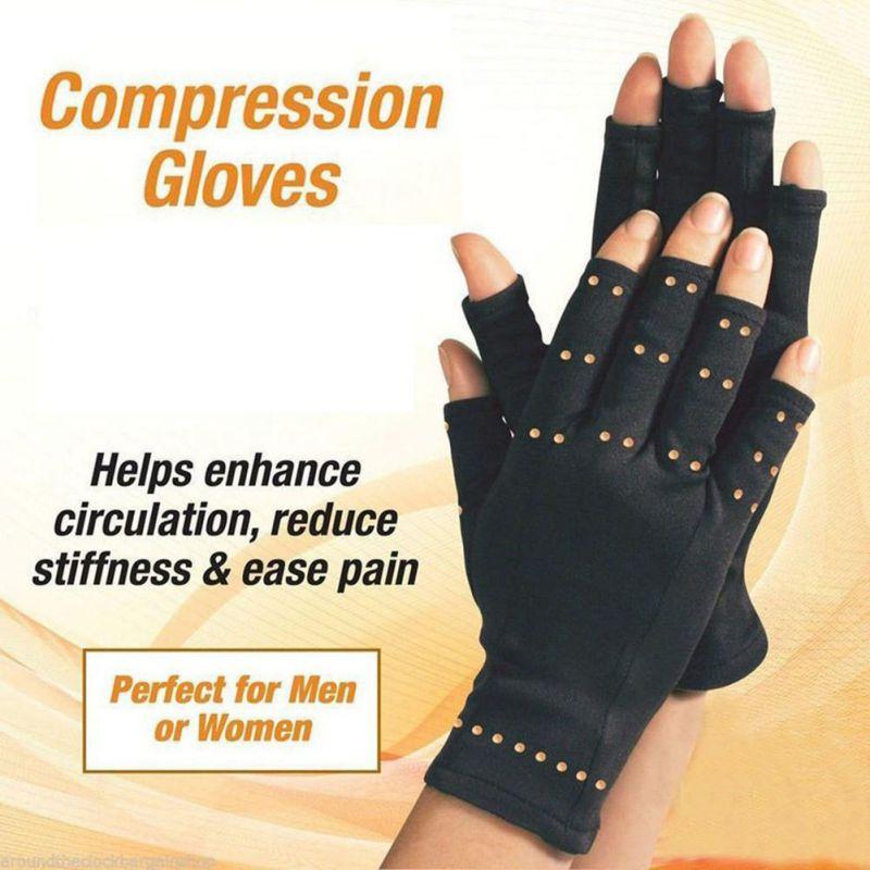 H 2019 mujeres hombres algodón manos guantes para artritis guantes terapéuticos medio dedo Fitness recuperación Handwear ropa deportiva Accesorios