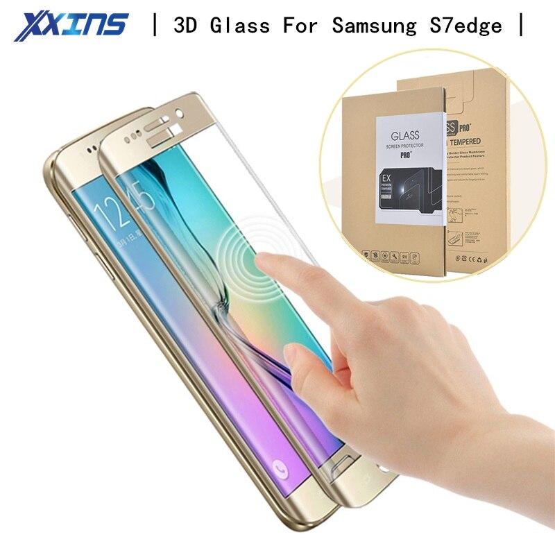 9 H 5,5 pulgadas superficie curva cubierta completa de vidrio templado para Samsung Galaxy S7 Edge película protectora de pantalla con paquete al por menor